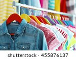 children clothes hanging on... | Shutterstock . vector #455876137