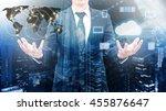 double exposure of professional ... | Shutterstock . vector #455876647