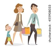 happy family with shopping bags.... | Shutterstock .eps vector #455908033