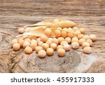 peas isolated on 'wooden... | Shutterstock . vector #455917333