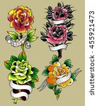 traditional tattoo flowers set... | Shutterstock .eps vector #455921473