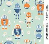 vector seamless retro futurism... | Shutterstock .eps vector #455943283