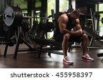 portrait of a muscular man... | Shutterstock . vector #455958397