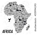 typography poster. africa map.... | Shutterstock .eps vector #455994193