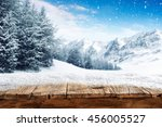 blue winter sky and alps... | Shutterstock . vector #456005527