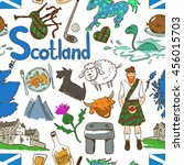 fun colorful sketch scottish... | Shutterstock .eps vector #456015703