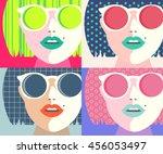 set eye wear glasses woman... | Shutterstock .eps vector #456053497