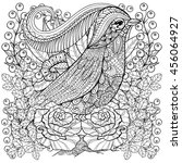 zentangle stylized bird in... | Shutterstock .eps vector #456064927
