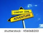 comfort zone vs adventure  ... | Shutterstock . vector #456068203