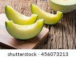 Sliced Japan Melon On Wood...