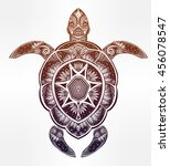 ornate turtle in tattoo style.... | Shutterstock .eps vector #456078547