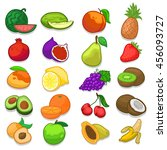 hand made fruits doodle icons | Shutterstock .eps vector #456093727