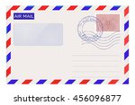 air mail envelope with post... | Shutterstock .eps vector #456096877