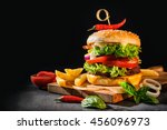 delicious hamburgers with... | Shutterstock . vector #456096973