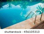 outdoor swimming pool in hotel... | Shutterstock . vector #456105313