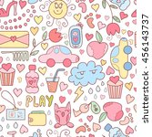 vector doodle seamless pattern... | Shutterstock .eps vector #456143737