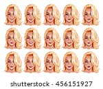 set of beautiful blonde haired... | Shutterstock .eps vector #456151927