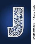 laser cut monogram initial... | Shutterstock .eps vector #456174637