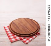 pizza board with a napkin on... | Shutterstock . vector #456195283