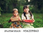 the children eating cherries in ... | Shutterstock . vector #456209863