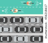 cyclists and cars in city.... | Shutterstock .eps vector #456218617