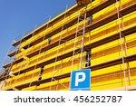 yellow protective tarpaulins... | Shutterstock . vector #456252787