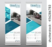 blue fold roll up business... | Shutterstock .eps vector #456286783
