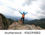 cheering successful woman... | Shutterstock . vector #456294883