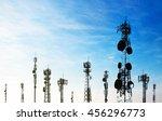 silhouette antennas on blue sky. | Shutterstock . vector #456296773