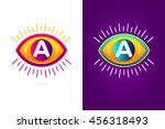 letters set a with eye icon....