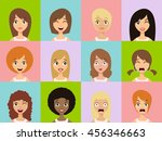 girls emoticon icons. woman... | Shutterstock .eps vector #456346663