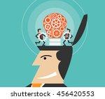 businessman make a light bulb...   Shutterstock .eps vector #456420553