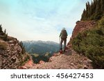 successful woman backpacker... | Shutterstock . vector #456427453
