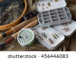 Small photo of fly fishing tackle, old reel, vintage