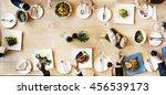 business meeting eating cheers... | Shutterstock . vector #456539173