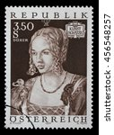 Small photo of ZAGREB, CROATIA - JULY 03: stamp printed by Austria, shows Art Treasures in Austria, Venice Girl by Albrecht Durer, circa 1971, on July 03, 2014, Zagreb, Croatia