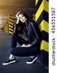 fashion portrait of young... | Shutterstock . vector #456551587