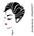 women short hair style icon ... | Shutterstock .eps vector #456650377