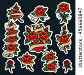 traditional tattoo flowers set... | Shutterstock .eps vector #456660847