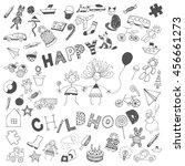 happy childhood graphic art... | Shutterstock .eps vector #456661273