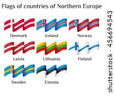 set of flying flags of northern ... | Shutterstock .eps vector #456694543