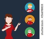 young woman teacher pointer... | Shutterstock .eps vector #456698833