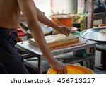 carver doing candles are carved ... | Shutterstock . vector #456713227