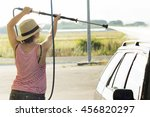 woman in  car wash  in service... | Shutterstock . vector #456820297