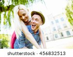 young happy couple hugging and... | Shutterstock . vector #456832513