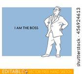 boss. fat man. editable vector... | Shutterstock .eps vector #456924613