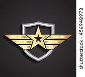 3d golden military star symbol... | Shutterstock .eps vector #456948973
