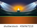 athletics stadium with track at ... | Shutterstock .eps vector #456967213
