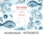 vintage sea food frame vector... | Shutterstock .eps vector #457026073