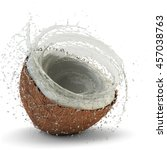 juicy coconut milk splash in... | Shutterstock . vector #457038763